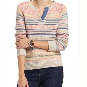 ANTHROPOLOGIE Fiets Voor 2 Coral Isle Sweater L